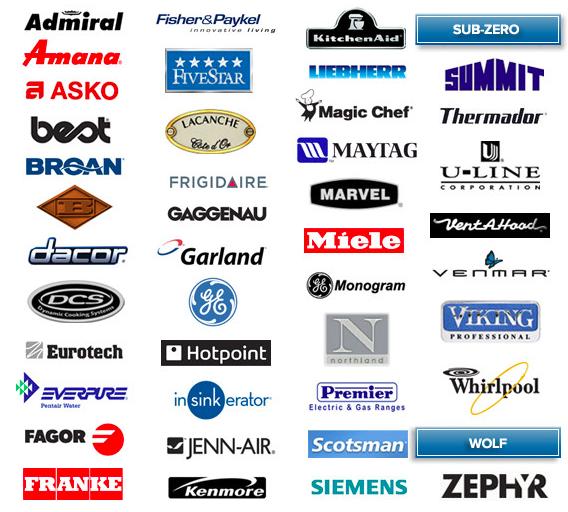 appliance brands maytag, GE, Whirlpool, SubZero, Amana, Frigidaire